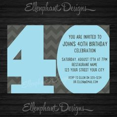 Big number 40th Birthday Invitation, also suit 30th, 50th, 60th, blue & Gray, men, custom invite, digital file, you print