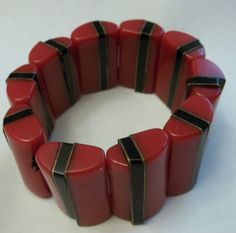 "Vintage Art Deco Bakelite Bracelet RED & BLACK BRASS Stretch1.25"" WIDE  85 GRAM  #Statement"