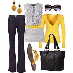 Black, gray, yellow Business casual.