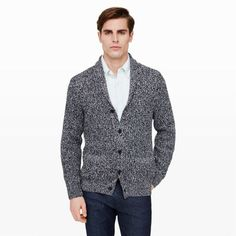 "For more casual days, opt for a plush cardigan in place of a blazer. This one is constructed in a thick, marled yarn, with a cozy shawl collar, and a relaxed, slim fit. Team it with a crisp button-down and indigo denim. Cotton Straight fit 26 ¾"" back length Shawl collar; button front; welt pockets at sides Dry clean Imported"