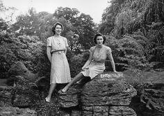 Princess Elizabeth and Princess Margaret (1930 - 2002) in the gardens at the Royal Lodge, WIndsor.