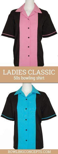 Have some Classic 50's Fun in this women's bowling shirt featuring a 1950s inspired design complete with a solid black shirt with bubble gum pink or turquoise.