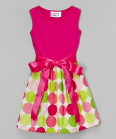 Look at this Fuchsia Dot Bow Dress - Infant, Toddler & Girls on #zulily today!
