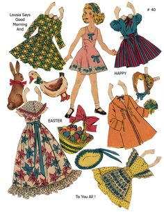 LOUISA Happy Easter ~~~ Lucy Eleanor Leary, Boston Sunday Post, Newspaper Paper Dolls