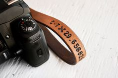 Leather Camera Wrist Strap Latitude and Longitude by MesaDreams