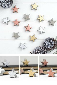 Gorgeous metallic concrete star for your Christmas decoration. I would love to put these stars on the table and use it all over the place #decor #homedecor #concrete #cement #concretedecor #star #metallic #christmas #christmasdecor #affiliatelink #commissionlink