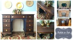 """Solid Walnut antique desk was rehabbed by Rehab to Fab. @generalfinishes milk paint in """"Coastal Blue"""". General Finishes gel stain in Java. Sealed with General Finishes Arm-R-Seal."""