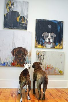Heather & Jeff's Art (and Dog) Friendly Modern Eclectic. I love this! Dogs looking at dog art.