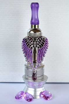 Fantazia Vapes - Purple Angel Wings Tank Vape Charm! The ultimate glamorous charm for your vape! Hand painted, dazzling with sparkles and a hanging genuine Swarovski tear drop crystal!