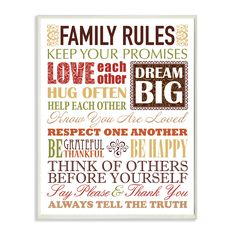 Stupell Industries Family Rules Typography Autumn Colors Textual Art