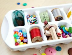 DIY organizing idea: Using ice cube trays to storage small craft and sewing items