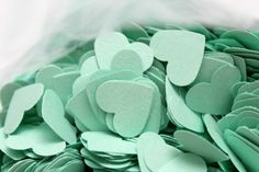 500 MINT GREEN Hearts Die cuts punches cardstock 5/8 inch -Scrapbook, cards, embellishment, confetti on Etsy, $12.00