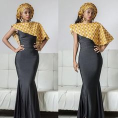 Ankara Long Gown Combination Style - DeZango Fashion Zone ~African fashion, Ankara, kitenge, African women dresses, African prints, Braids, Nigerian wedding, Ghanaian fashion, African wedding ~DKK