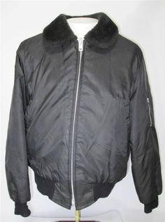 Vintage Men's Bomber Flight Jacket Nylon Quilt Lined Black Fur Collar Size M #FlightJacket #FlightBomber