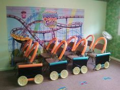 Make a train With folding chairs Roller Coaster Decorations, Roller Coaster Theme, Vbs Crafts, Preschool Crafts, Crafts For Kids, Robot Theme, Circus Theme, Boardwalk Theme, Carnival Themes