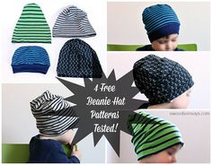 4 free sewing patterns for knit fabric beanie hats, tested for a toddler.