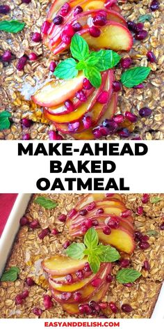This baked oatmeal can be made ahead of time and served whenever you want to. It makes a great breakfast for back-to-school or for Autumn. Get the easy recipe now!  #bakedoatmeal #glutenfreebreakfast #easybreakfast #baking #easyrecipes Make Ahead Breakfast Casserole, Breakfast Bread Recipes, Vegetarian Breakfast, Breakfast Ideas, Baked Oats, Baked Oatmeal, Cooked Apples, Spiced Apples, Marinated Grilled Vegetables