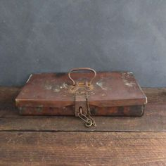 Hand Forged Solid Copper 19th Century Lock Box, Mining Collectible, Folk Art