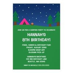Camping Birthday Party Invitations Camping Birthday Party Girls Invitations