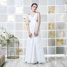 Gio Rodrigues Theodora Wedding Dress classic wedding dress A-line duchesse satin mousseline crystals application collar engaged inspiration unique gorgeous elegant bride