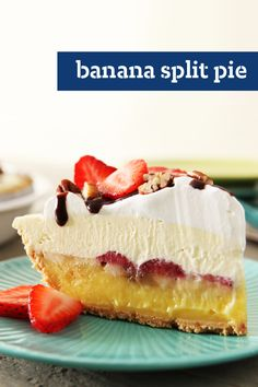 Banana Split Pie – Vanilla pudding, fresh banana slices and strawberries, a layer of COOL WHIP, chocolate drizzle and nuts. With a dessert recipe like this, who needs ice cream?