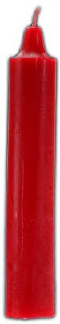 "9"" Red pillar candle. The color of passion, love, warmth, and fire, this tall taper-styled red pillar candle is a popular ritual tool within a wide variety of magical practices. Measures 9"" tall and 1 1/2"" thick. Thick candles may need their bases shaved in order to stand perfectly upright."
