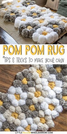 A tips and tricks tutorial for making a pom pom rug really fast! We give detail… A tips and tricks tutorial for making a pom pom rug really fast! We give details about what pom pom rug backing to use,… Continue Reading → Pot Mason Diy, Mason Jar Crafts, Pompom Rug, Diy Pom Pom Rug, Yarn Pom Poms, Diy Crafts To Sell, Diy Crafts For Kids, Teen Summer Crafts, Money Making Crafts