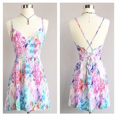 A Watercolor Tie Back Dress