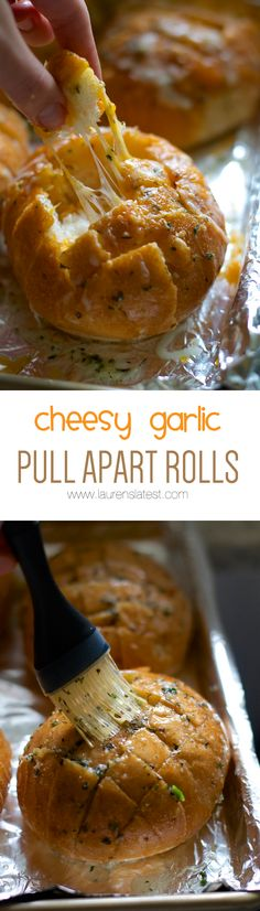 Cheesy Garlic Pull Apart Rolls - I like that these are rolls, versus one big loaf of bread. Pull Apart Garlic Bread, Cheesy Garlic Bread, Appetizer Recipes, Snack Recipes, Appetizers, Easy Recipes, Sandwich Recipes, Muffin Recipes, Homemade Garlic Butter