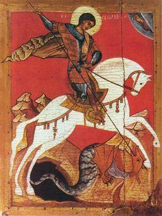 Saint George and the Dragon, Russian icon, Novgorod School, late century, Byzantine Icons, Byzantine Art, Catholic Saints, Patron Saints, Religious Icons, Religious Art, Atelier Theme, Saint George And The Dragon, Russian Icons