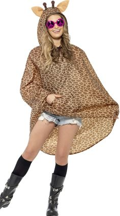 Purchase your giraffe party poncho for theme parties from the Halloween Spot. This brown coloured giraffe poncho with drawstring bag is made of polyester. Cool Costumes, Costumes For Women, Halloween Costumes, Funny Costumes, Adult Halloween, Halloween 2017, Giraffe Fancy Dress, Festival Poncho, Vestidos