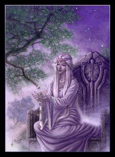 Mead Hall:  The #Goddess Frigga casting #runes.