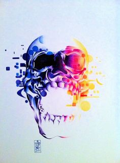 Skull - ballpoint pen on paper - 40x50cm