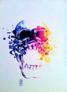 Skull - ballpoint pen on paper - 40x50cm