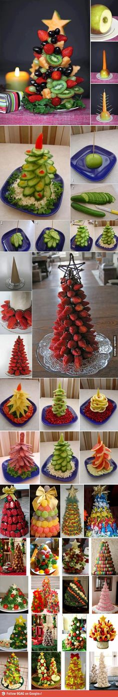 """I heard you like Christmas trees""  Ooh there's a recipe for white chocolate dipped strawberries rolled in diff colors sugar! That'd be a pretty fruit tree!"