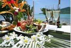 Champagne and lobster #wedding meal at #NavutuStars #Yosawa Islands #Fiji #cuisine