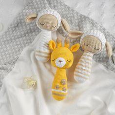 Set of 2 patterns Crochet rattle amigurumi toys amigurumi Crochet Bunny Pattern, Crochet Fox, Crochet Toys Patterns, Stuffed Toys Patterns, Bear Patterns, Doll Patterns, Crochet Baby Toys, Crochet Dolls, Baby Knitting
