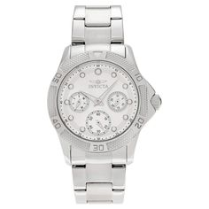 Women's Invicta 21764 Angel Quartz Chronograph Silver and White Dial Link Watch - Silver
