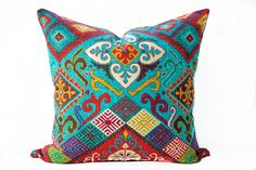 Southwest red pillow cover, Bright turquoise and red Boho Toss Pillow, Ethnic, Tribal Cushion Cover by InkAndLinenCo on Etsy https://www.etsy.com/ca/listing/505583814/southwest-red-pillow-cover-bright