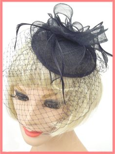Black Veiled Sinamay Bow  Feather Cocktail Hat