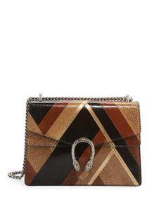 V33XF Gucci Dionysus Chevron Ayers Shoulder Bag, Black/Brown/Beige/Gold