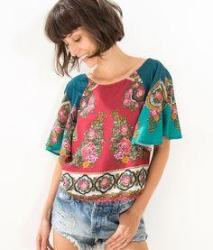 blusa manga curta rousete