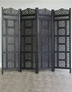 Carved Wooden Four Panel Moroccan Style Screen