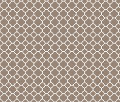 Mocha Brown Quatrefoil custom fabric by sweetzoeshop for sale on Spoonflower