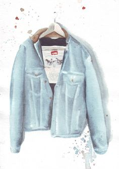 Items similar to original watercolor painting / denim jacket / blue denim / levi jacket / watercolor fashion / on Etsy Watercolor Fashion, Watercolor And Ink, Watercolor Paintings, South African Artists, Levis Jacket, Blue Denim, Original Art, Denim Shorts, Trending Outfits