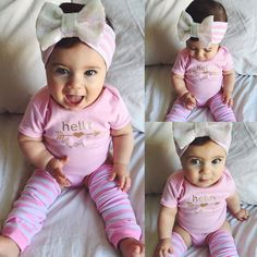 Pink Newborn Infant Baby Girls Clothes Short Sleeve Bodysuit Striped Leg Warmers Headband 3pcs Outfit Bebek Clothing Set 0-18M