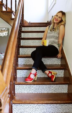 Customize Stairs With Removable Wallpaper (Renter-Friendly!) - A Beautiful Mess