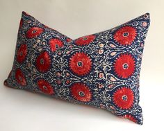 One Ruby and Indigo Bohemian Floral Zipper Pillow cover: Red Dark Blue Deep Indigo 12x18 16x16 20x20 26x26 14x36 Bohemian Linen pillow-F7CA by Pillomatic on Etsy https://www.etsy.com/listing/253938868/one-ruby-and-indigo-bohemian-floral