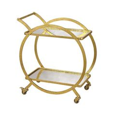 """We love the statement this gold ring bar cart will make! The circle structure gives it that added charm!    Dimensions: 21""""L x 16""""W x 39""""H  Materials: Gold Leaf on Metal with Mirror"""