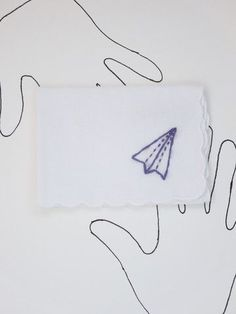Embroidered Paper Airplane Handkerchief by wrenbirdarts